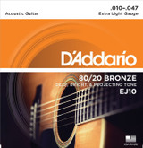 D'Addario EJ10 Bronze Acoustic Guitar Strings 10-47 - Extra Light Gauge