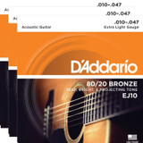 D'Addario EJ10 Bronze Acoustic Guitar Strings 10-47 - Extra Light Gauge - 3 Packs
