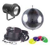 American MB8COMBO-U  Mirror Ball Lighting Effect  With Battery Powerd Motor (Includes a Pinspot, 4 Color Gels 8 Inch)