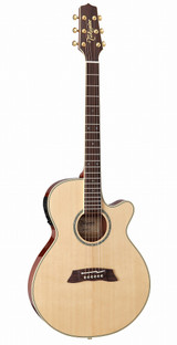 Takamine TSP138C N (Thineline) 6 String Acoustic Guitar (Case Included) with solid spuce top and CT-3N Electronics - Natural Gloss