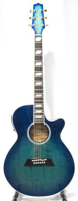 Takamine TSP178AC-SBB 6 String Acoustic Guitar (Case Included) with Arched Flame Maple and New CT-3N Preamp - Gloss See-thru Blue Burst