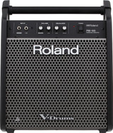 """Roland PM-100 2-channel  80-watt 1x10"""" Powered Drum Monitor with 10"""" Woofer and Onboard Tweeter - Black"""