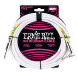 Ernie Ball P06047 Classic 20' Straight Angle Instrument Cable - White