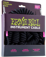 Ernie Ball P06044 30' Coiled Straight / Straight Instrument Cable - Black