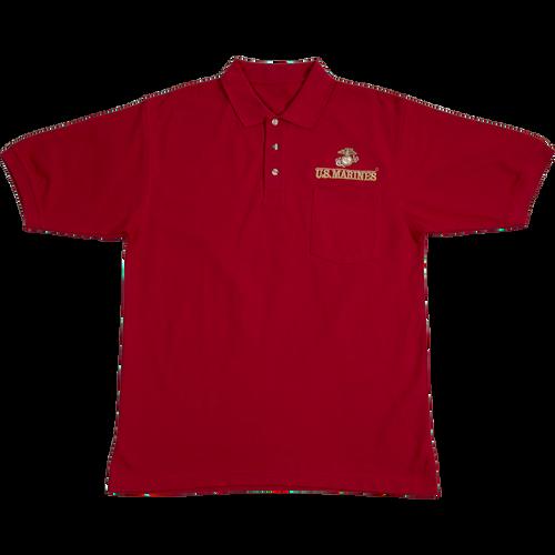 US Marines Red Pocket Golf Shirt