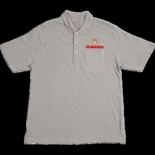 US Marines Heather Golf Shirt with Pocket