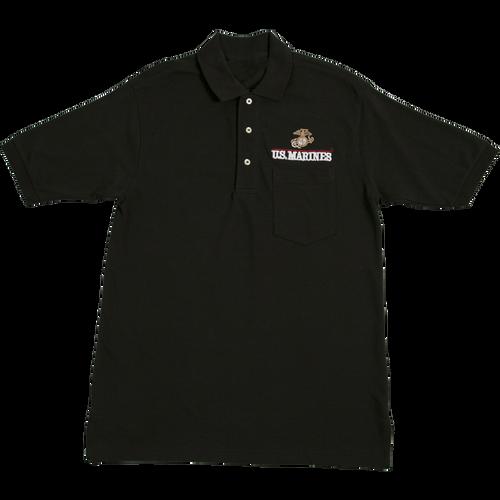 US Marines Black Pocket Golf Shirt