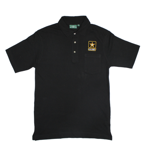 US Army Black Pocket Golf Shirt