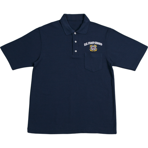US Coast Guard Blue Pocket Golf Shirt