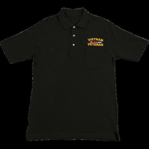 Vietnam Veteran Black Pocket Golf Shirt