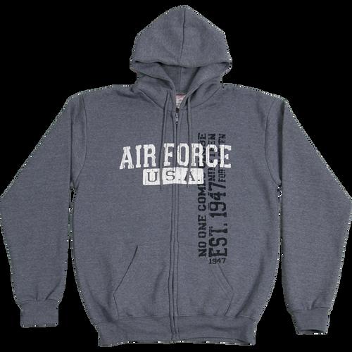 US Air Force Vintage Wash Front Zip Hooded Sweatshirt