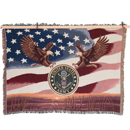 Made in the USA: US Army Tapestry Blanket