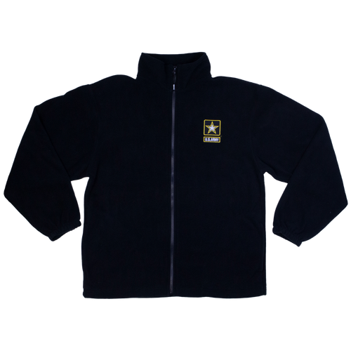 Made in the USA: US Army Black Fleece Zip-up Jacket