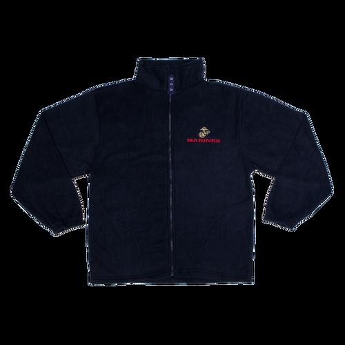 Made in the USA: US Marines Black Fleece Zip-up Jacket