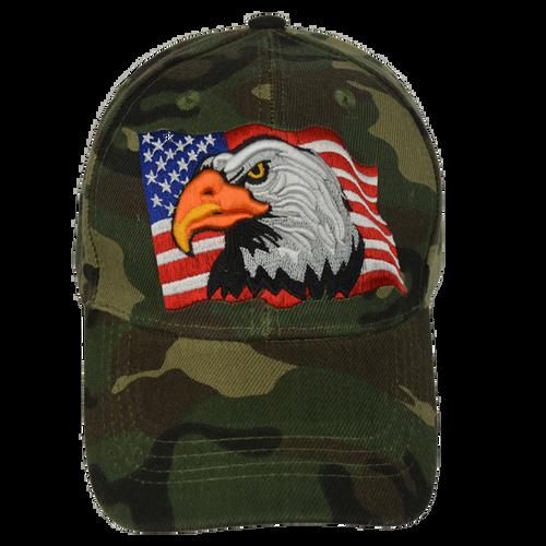 Embroidered Eagle Flag Woodlands Camo Cap