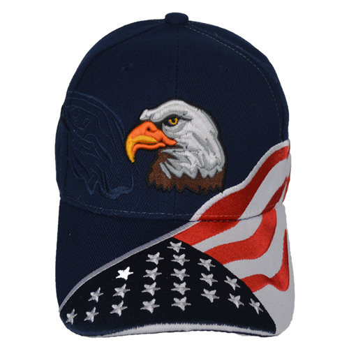 Embroidered Eagle Shadow Logo Stars & Stripes Navy Cap