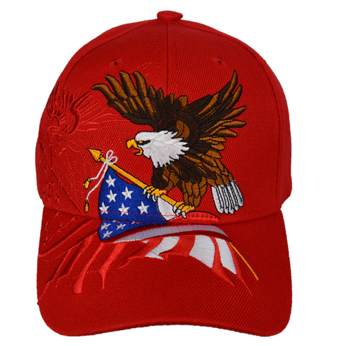 Embroidered Eagle Flag Red Cap
