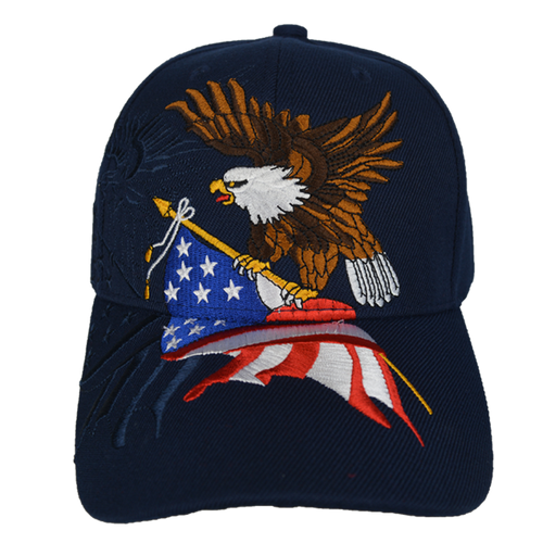 Embroidered Eagle Flag Navy Cap