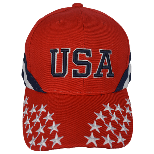 Red Embroidered Stars & Stripes Cap