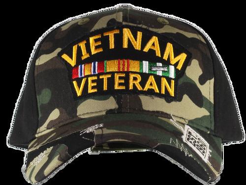 US Vietnam Veteran Distressed Camo Cap
