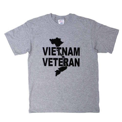 Made in the USA: Vietnam Veteran Gray Solid Color Logo Front T-shirt