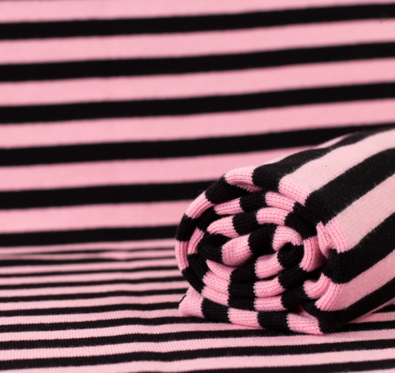 Pink Black Stripe Ribbing