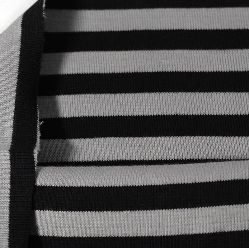 Black Grey Stripe Ribb