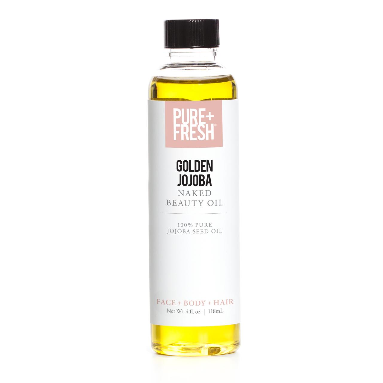 4.0 fl oz. Bottle of Pure+Fresh Fragrance Free Golden Jojoba Oil