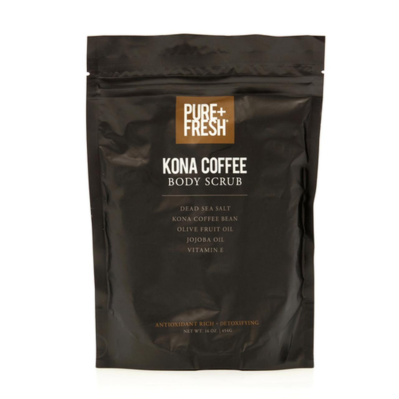 16oz Packaging of Pure+Fresh Kona Coffee Body Scrub