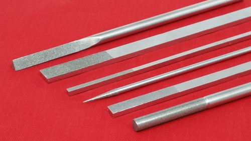 """Diamond Hand File 1/8"""" x 1/4"""" Diamond on Top and One Side 140 Grit"""