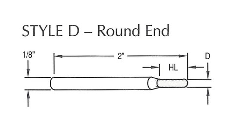 "Diamond Contour Tooling - Round End 1/16"" Head Diameter X 1/4"" Head Length, 100/120 Grit Diamond"