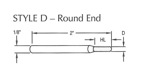 "Diamond Contour Tooling - Round End 5/64"" Head Diameter x 1/4"" Head Length, 100/120 Grit Diamond"