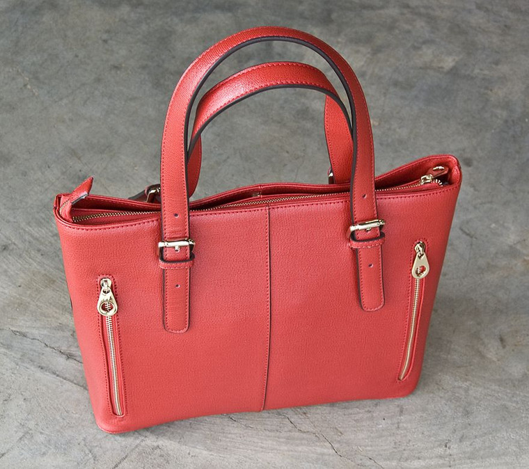 Concealed Carrie Smooth Red Leather Tote (10000012)