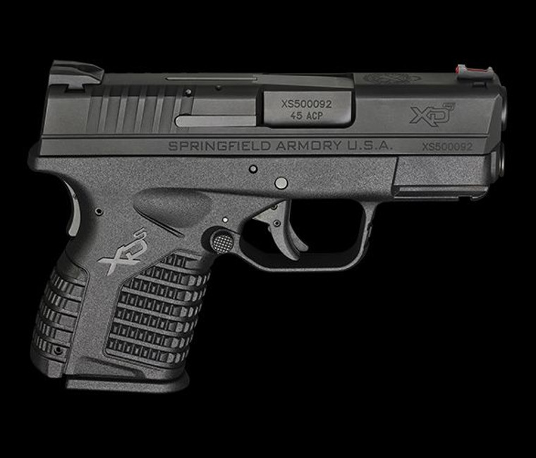 """Clyde Armory Springfield Armory XD-S,, 3.3"""" Black, Single Stack Compact .45, Red Fiber Optic Front Sight"""