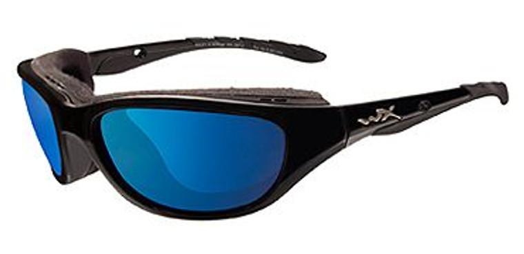 Wiley X AirRage Polarized Blue Mirror Lens/Gloss Black Frame