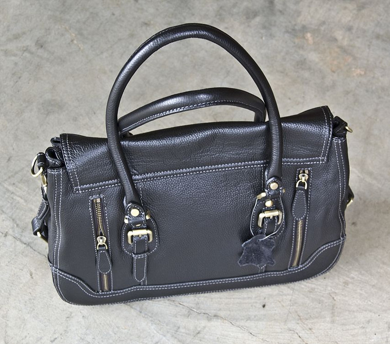 Concealed Carrie Aged Black Leather Satchel (10000013)