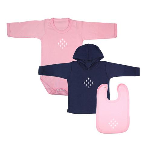 Diamond 9 Babywear Bundle - Pink Full Sleeve Bodysuit, Navy Hoodie & Pink Bib