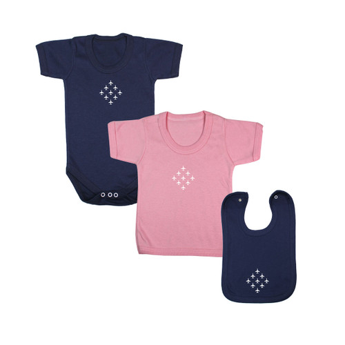Diamond 9 Babywear Bundle - Navy Short Sleeve Bodysuit, Pink T-Shirt & Navy Bib