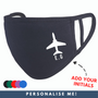 Personalised Initial Plane Face Mask