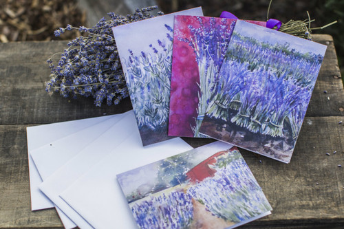 Lavender Note Cards. All fours cards in each set, all blank inside.