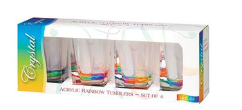 Rainbow Crystal 14 oz. Tumbler  Set Of 4