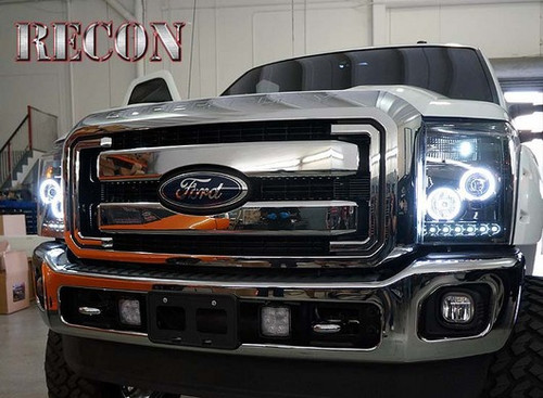 Super Duty Headlights >> Recon Lighting 2011 2014 Ford Super Duty Projector Headlights