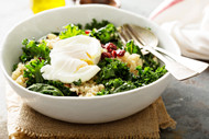 Simple and easy lunch - Kale Caesar Salad with a Poached Egg