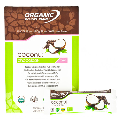 Organic Food Bar Chocolate Coconut Raw Bar Box - 12 x 50g