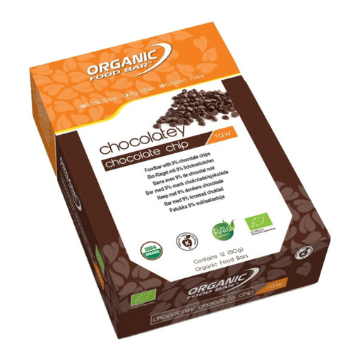 Organic Food Bar Chocolatey Chocolate Chip Raw Bar Box - 12 x 50g