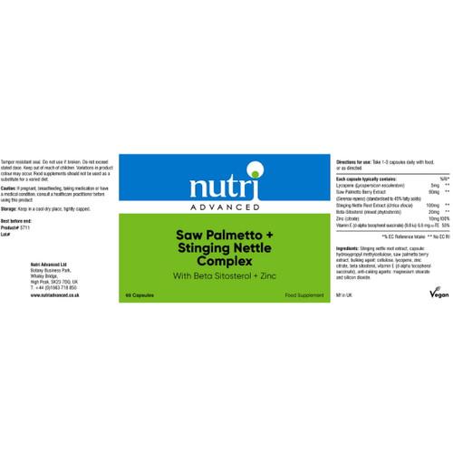 Nutri Advanced Saw Palmetto & Stinging Nettle Complex - 60 capsules