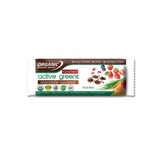 Organic Food Bar Chocolate Covered Active Greens Protein - Single (75g)