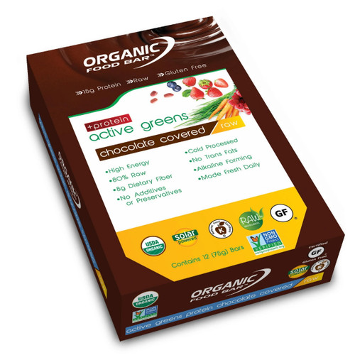Organic Food Bar Chocolate Covered Active Greens Protein - Box 12 x 75g