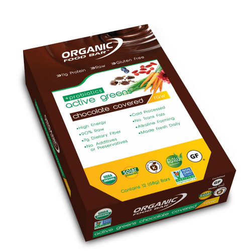 Organic Food Bar Chocolate Covered Active Greens Probiotics - Box 12 x 68g
