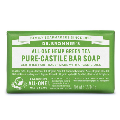 Dr Bronner's Green Tea Organic Soap Bar - 140g